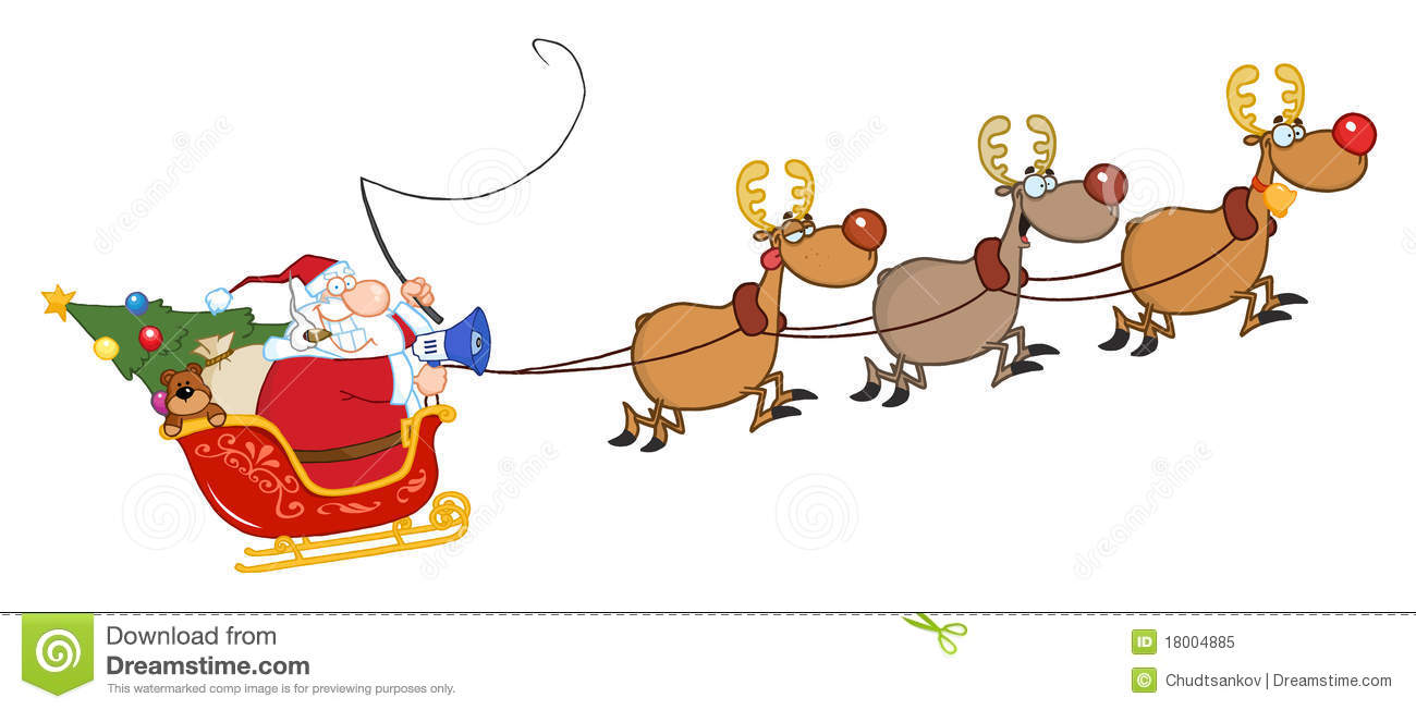 Sleigh clipart santa's slay With Flying Clipart Sleigh Santa