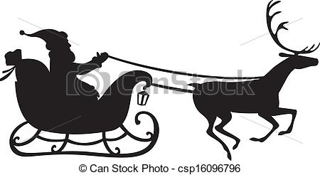 Drawn reindeer sleigh  a of Silhouette on