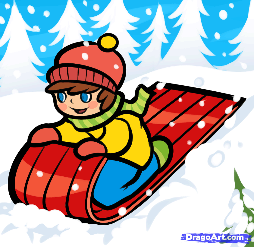 Sleigh clipart snow sled Sled Draw by draw snow