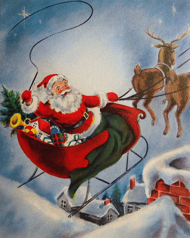 Sleigh clipart vintage Santa clipart Vintage santa Vintage