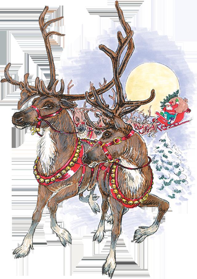 Sleigh clipart vintage Art and vintage santa Clipart