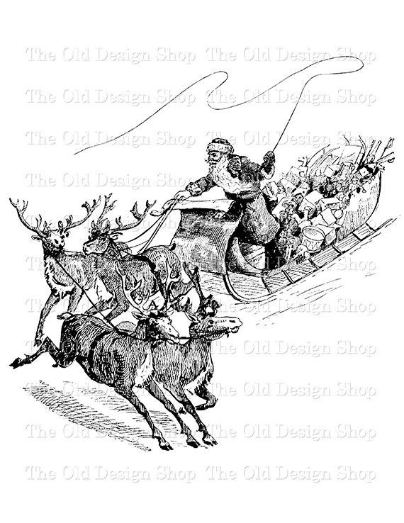 Sleigh clipart vintage Reindeer Vintage and PNG Christmas