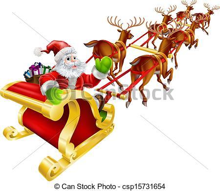 Santa clipart flying #5