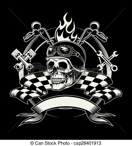 Sleleton clipart biker With with skull Vector emblem