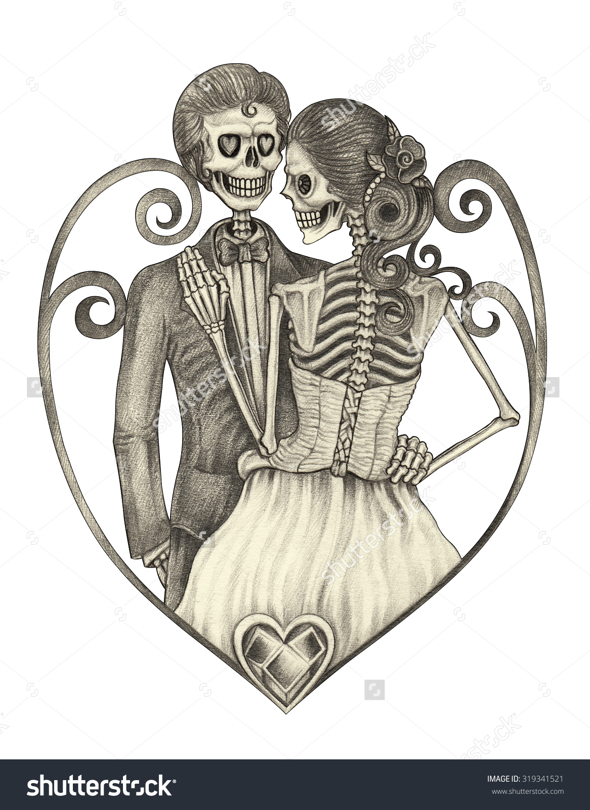Sleleton clipart bride and groom Drawing skeleton  and drawing
