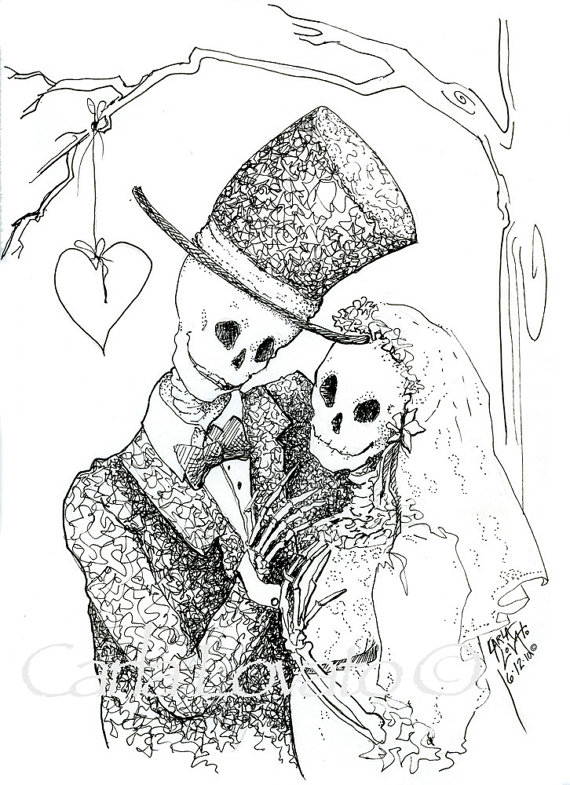 Sleleton clipart bride and groom Day Dead drawing Clipart skeleton