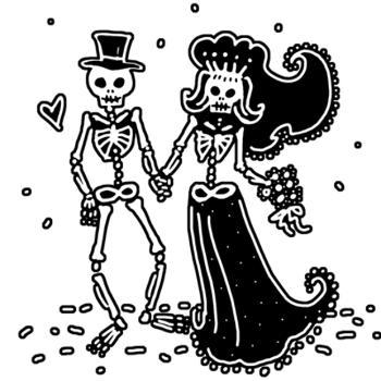 Sleleton clipart bride and groom Image png T and