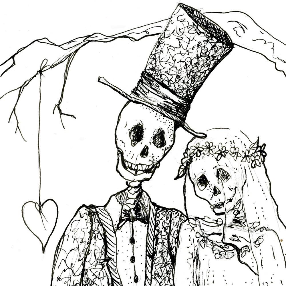 Sleleton clipart bride and groom Drawing Royalty Bride Free Wedding