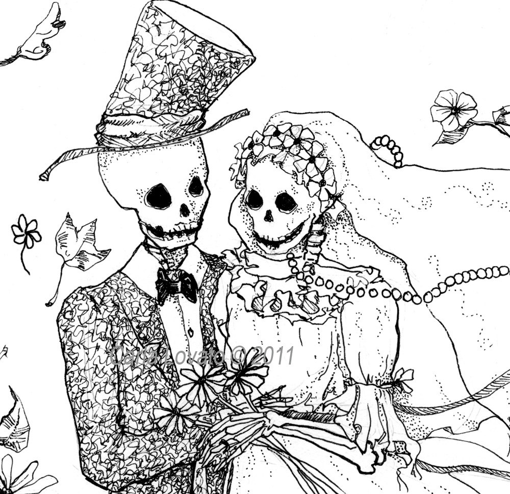 Zombie clipart bride and groom Day print Giclee Skeleton the