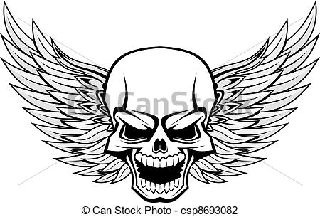 Biker clipart wing Clip Vector Royalty with Skull