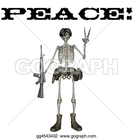 Sleleton clipart peace Drawing Drawing Stock A gg4543432