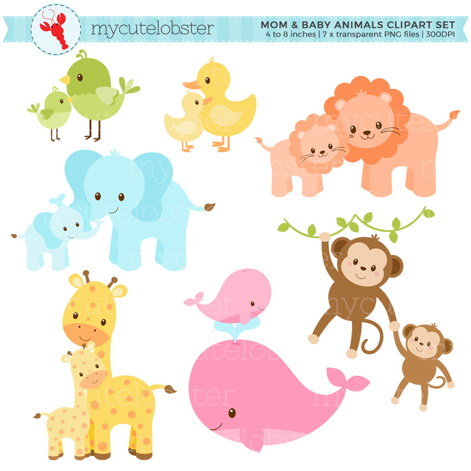 Baby Animal clipart pastel Download safari clipart and use