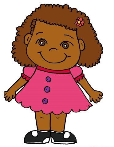 Brown Hair clipart curly hair Children (Small) blank Art girl