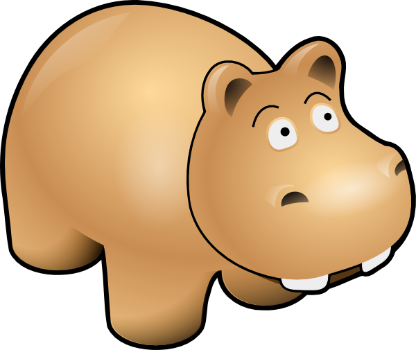 Brown clipart bucket Large small Hippo Clker PNG: