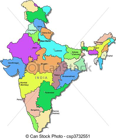 Small clipart indian India map csp3732551 Color over