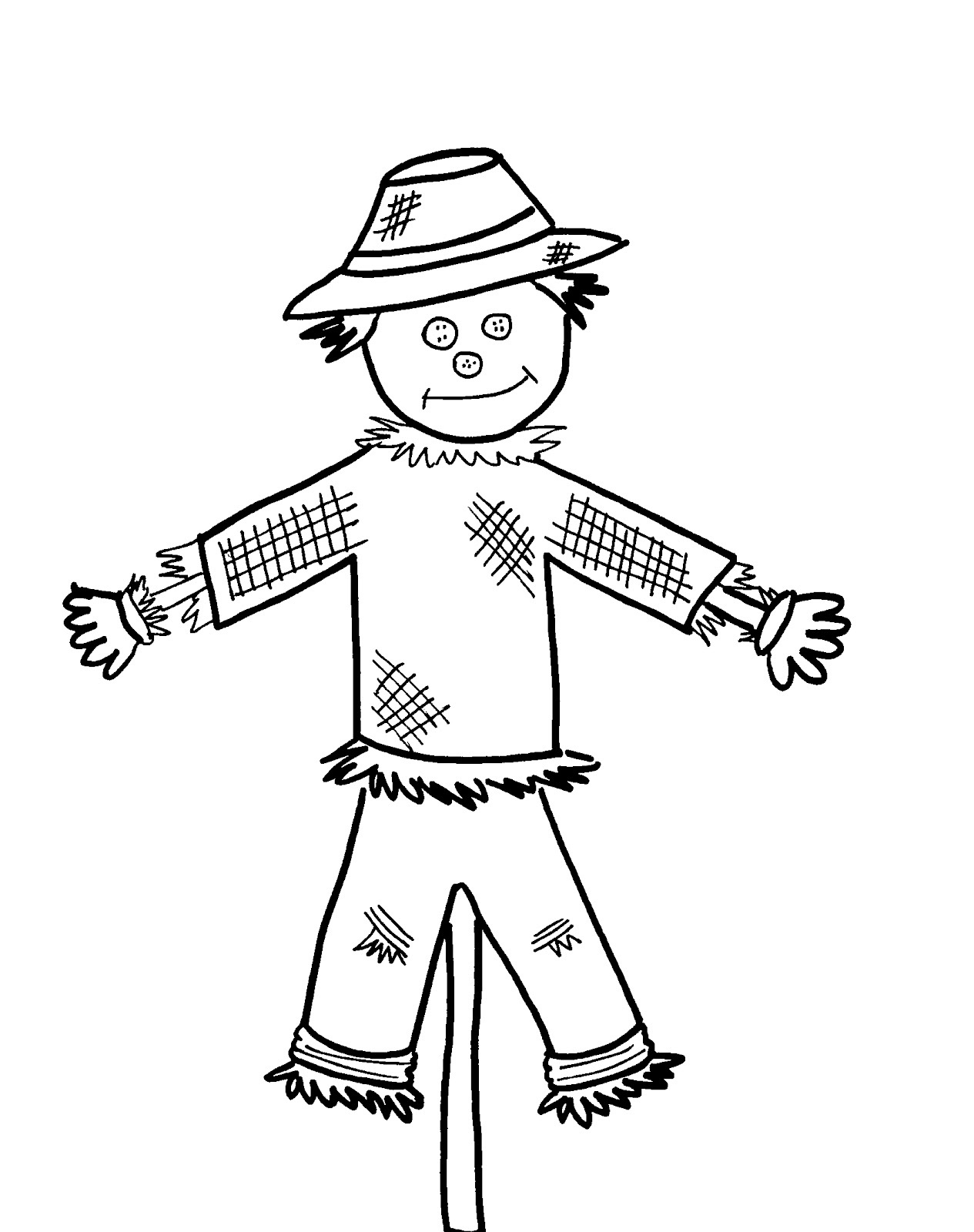 Scarecrow clipart black and white Scarecrow Scarecrow Pages Coloring To