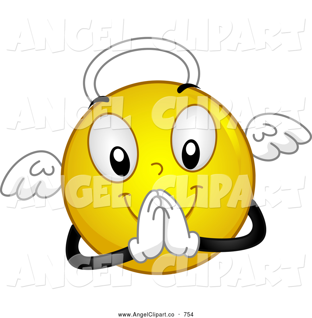 Smiley clipart angel Praying Royalty Free Yellow Stock