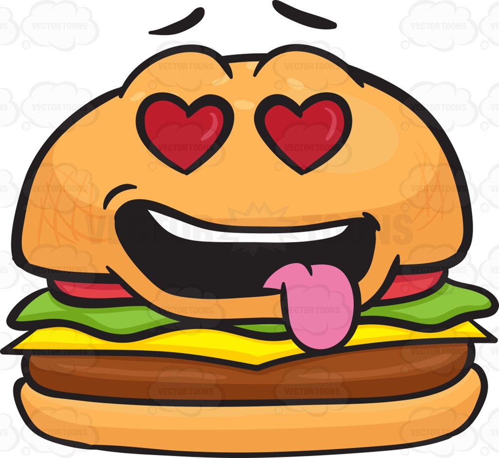 Smiley clipart hamburger Struck Love Cartoon Cheeseburger Struck