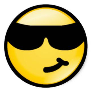 Smileys clipart sunglass Smiley Cool Sunglasses Round Sticker