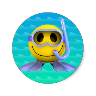 Smiley clipart swimming Classic Stickers Swimming Zazzle Round