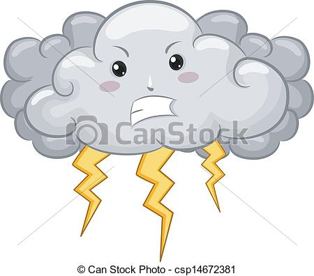 Thunderstorm clipart dark cloud  with Lightning Angry csp14672381