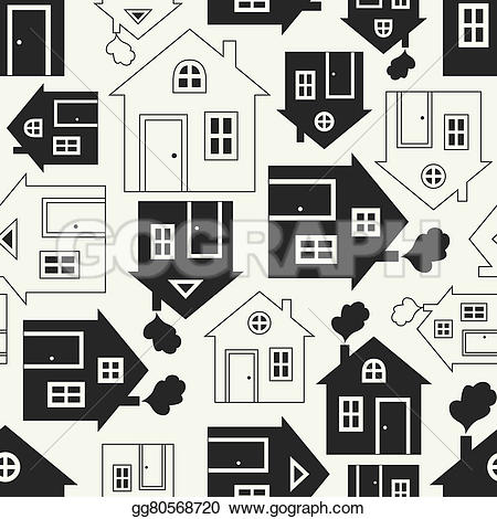 Smoking clipart house outline Home home pattern silhouette seamless