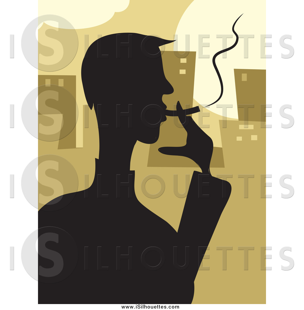 Smoking clipart silhouette A Silhouetted a Smoking Cigarette