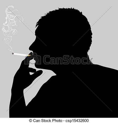 Smoking clipart silhouette Vector of of man csp15432600