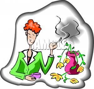 Smoking clipart smoke pollution Clip Image Near Flowers Woman