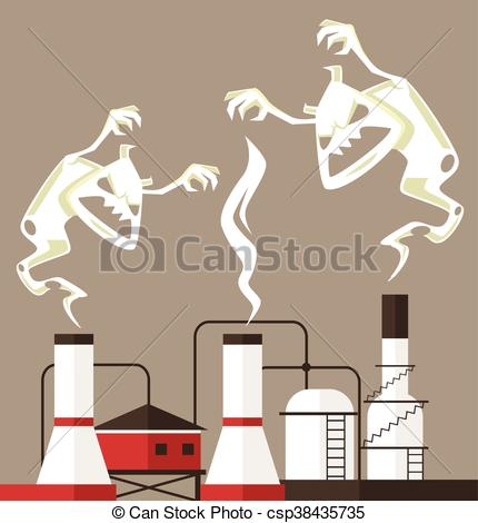 Smoking clipart smoke pollution Of pollution monster Air Vectors