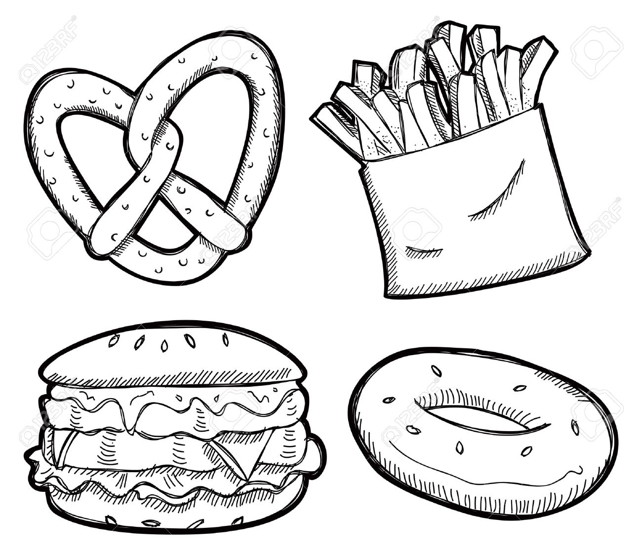 Bagel clipart black and white Snack clipart clipart white snack