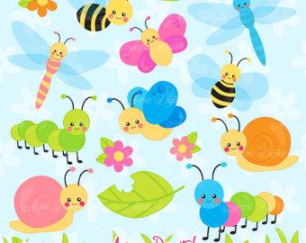 Caterpillar clipart pastel Garden Scrapbook bugs Butterfly Insect