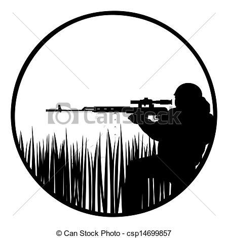 Sniper clipart black and white Sniper csp14699857  sniper Vector