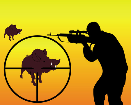Sniper clipart hunter Stock boar vector of on