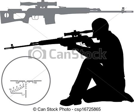 Sniper clipart hunting rifle Art Hunter rifle Hunter a