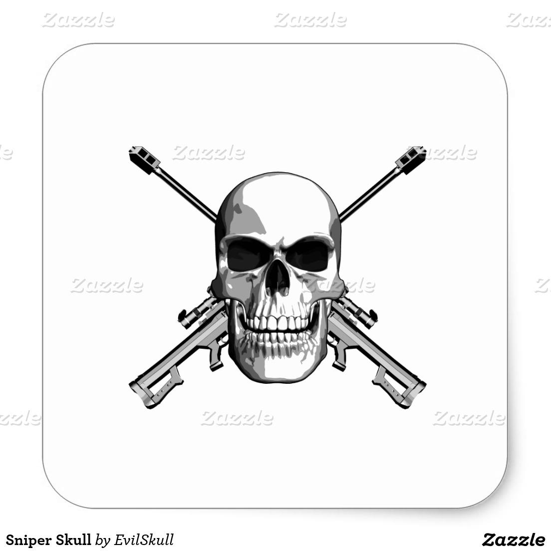 Snipers clipart skull Round stickers Sniper Skull Round