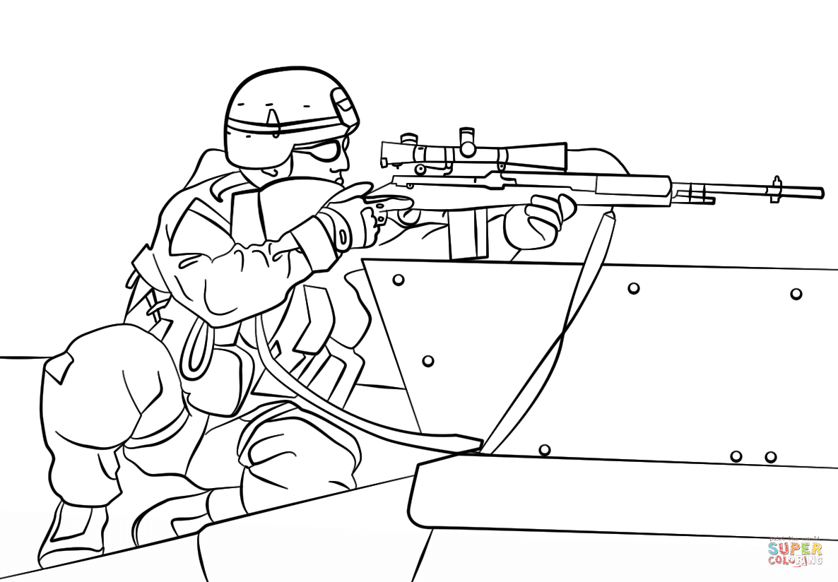 Sniper clipart ww1 soldier Coloring Free coloring page Army