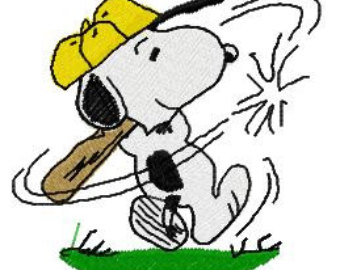 Snoopy clipart baseball Embroidery Snoopy Baseball Design Playing