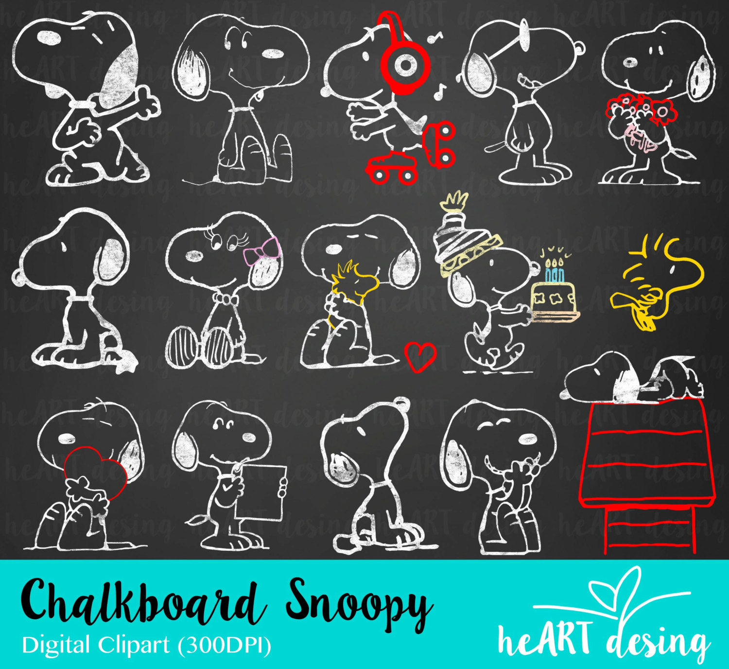 Snoopy clipart heart / Commercial Clipart item? for
