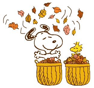 Thanksgiving clipart peanuts Recipe leaves Snoopy Woodstock Fall
