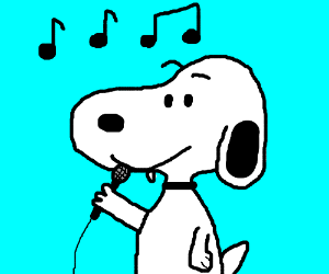 Snoopy clipart singing Boy Snoopy sings by (drawing