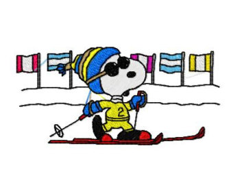 Snoopy clipart skiing Download Embroidery Skiing Snoopy 9