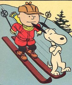 Snoopy clipart skiing Skiing Snoopy Brown on and