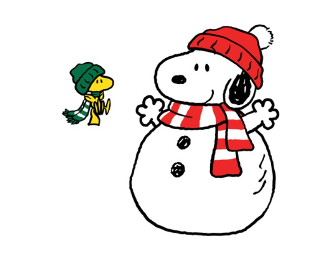 Snoopy clipart snowman Nearby Wearing and Woodstock Snowman