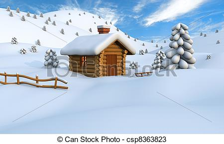 Winter clipart winter cabin Illustration Winter of of Drawings