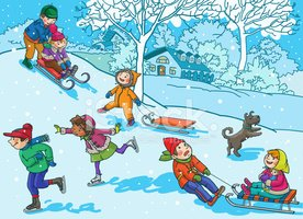 Winter clipart activites Winter Playing me vectors Christmas