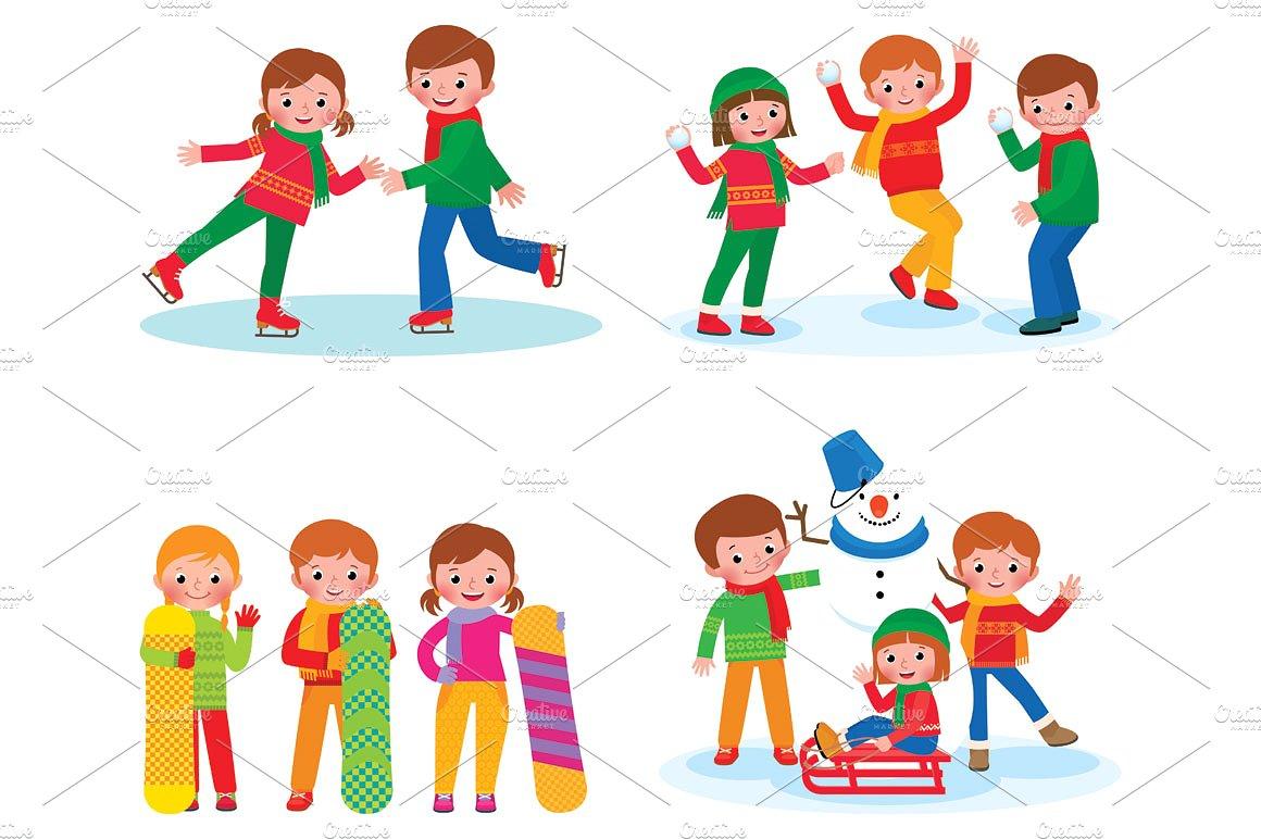 Winter clipart activites Children Illustrations  on activities