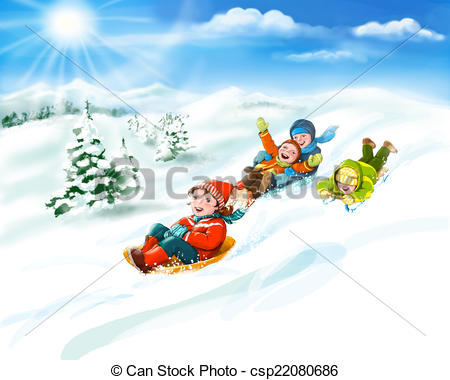 Winter clipart fun kid Illustration winter sledges Stock with