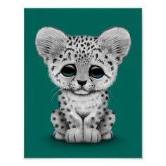 Baby clipart snow leopard Baby Blue Print Cute on