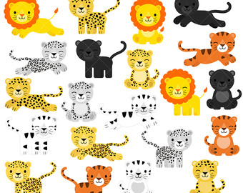 Big Cat clipart baby panther Woodland Leopard / Big Forest